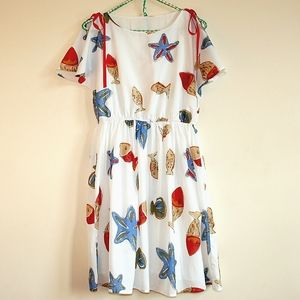 Womens Fish & Seashell Print Dress With Cap Sleeves And Ribbons Size M